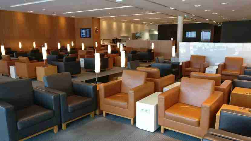 Modern leather chairs make most of the seating in the lounge.