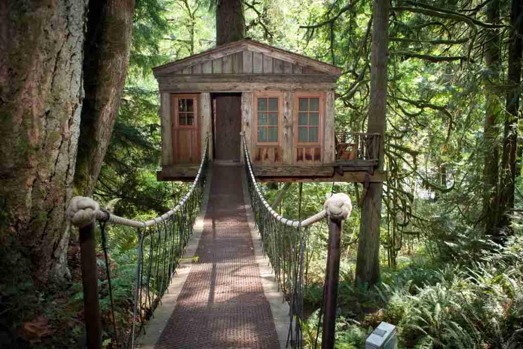 "Temple tree house has access via a wooden suspension bridge. Photo by <a href=""http://www.adamcrowley.com"">Adam Crowley</a>."