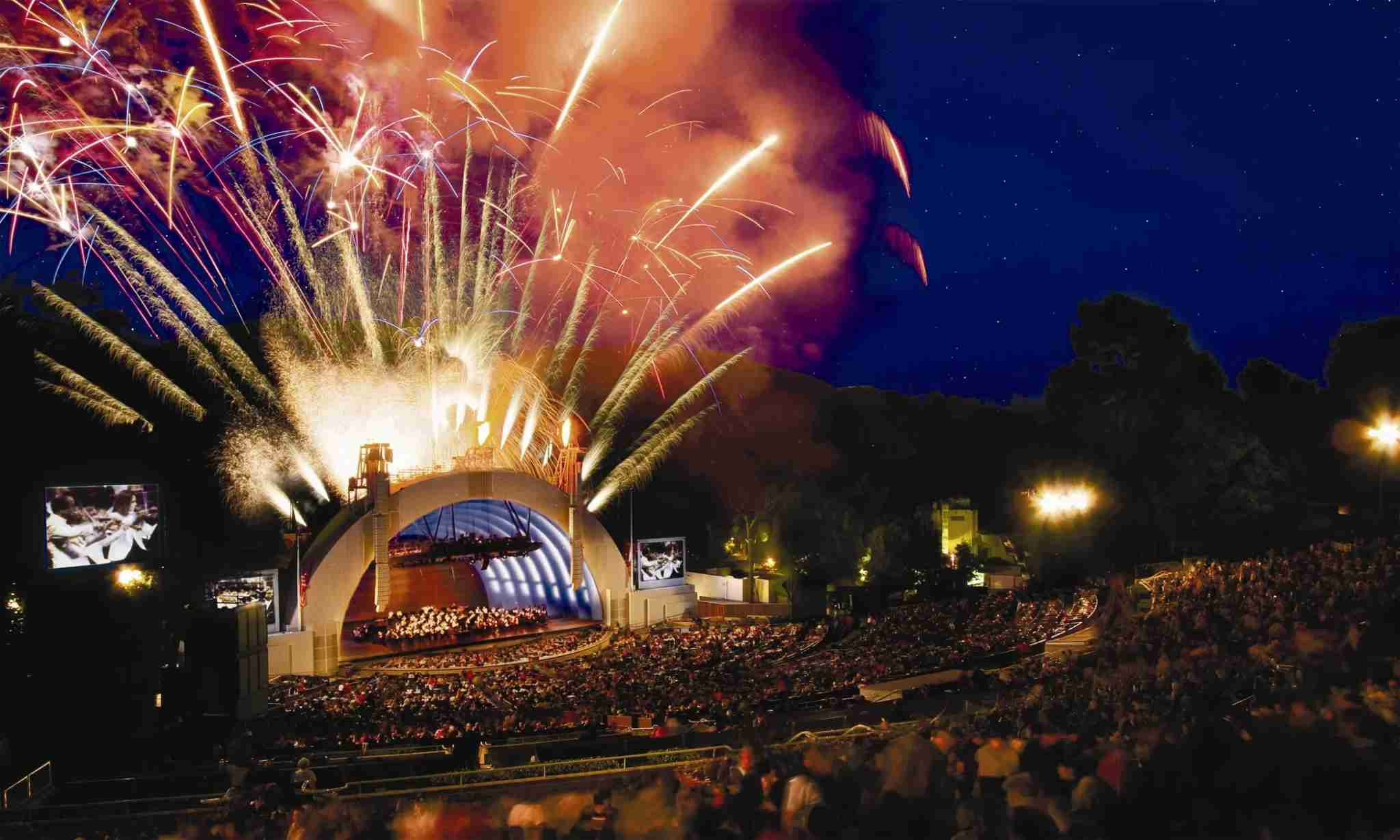 Fireworks at the Hollywood Bowl in LA, home this year to a Pentatonix concert. Image courtesy of Los Angeles Tourism.