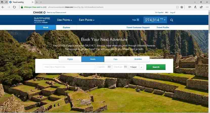 The Chase Ultimate Rewards Travel Center portal is great for booking free flights, hotels and more.