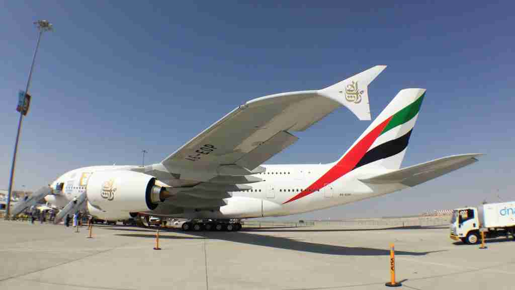 Emirates A380 at the 2015 Dubai Air Show - by Paul Thompson