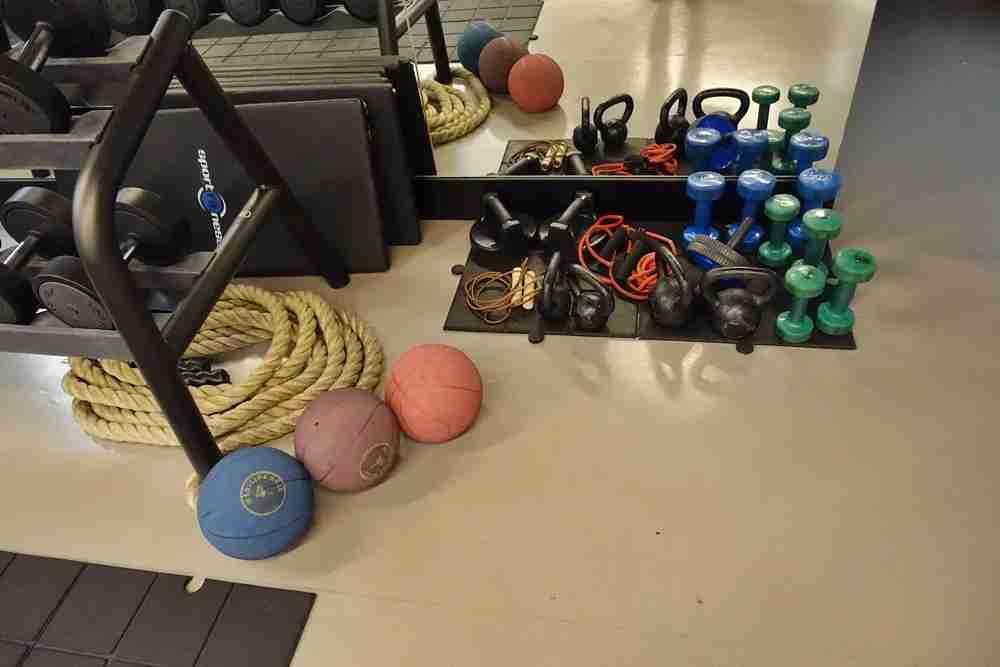 Gym equipment.