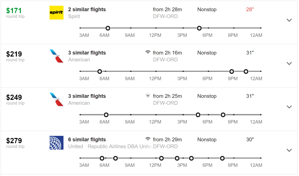 Legroom for Google Flights search results