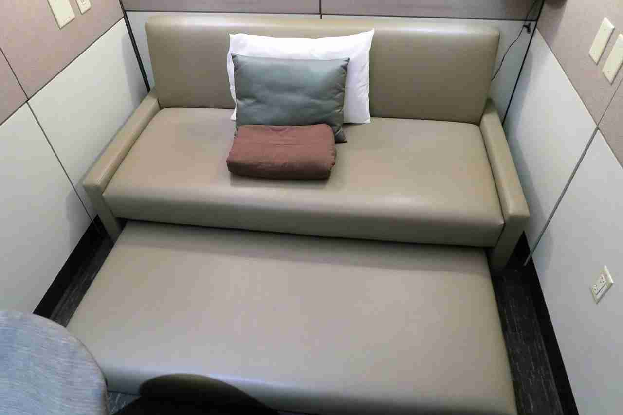 Minute Suites ATL couch pulled out