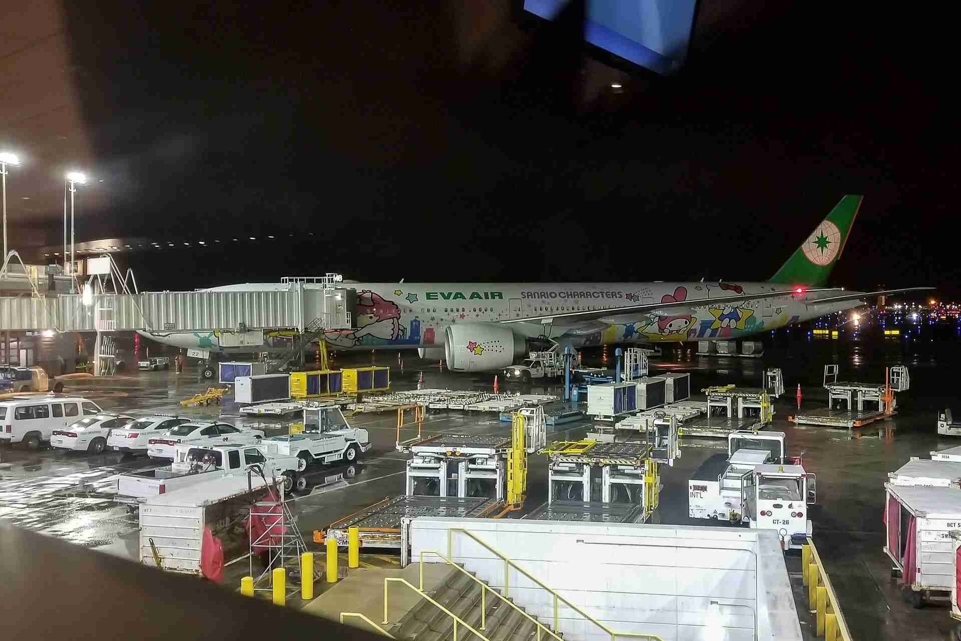 The boarding area afforded a pretty great view of the Hello Kitty jet that we were about to board.