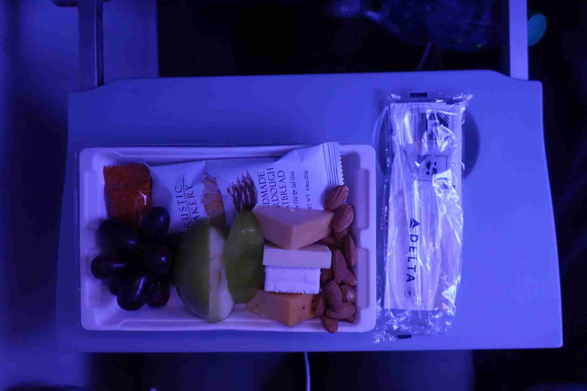 Fruit and cheese on my overnight flight.