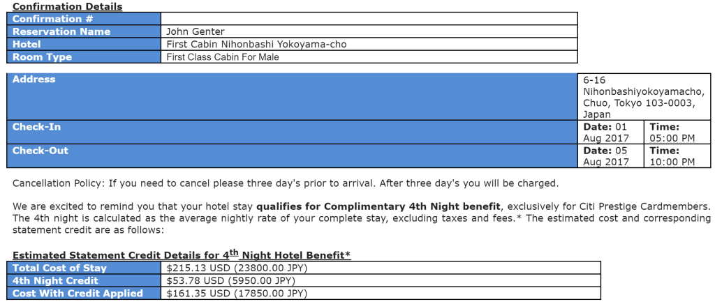 First Cabin hotel confirmation