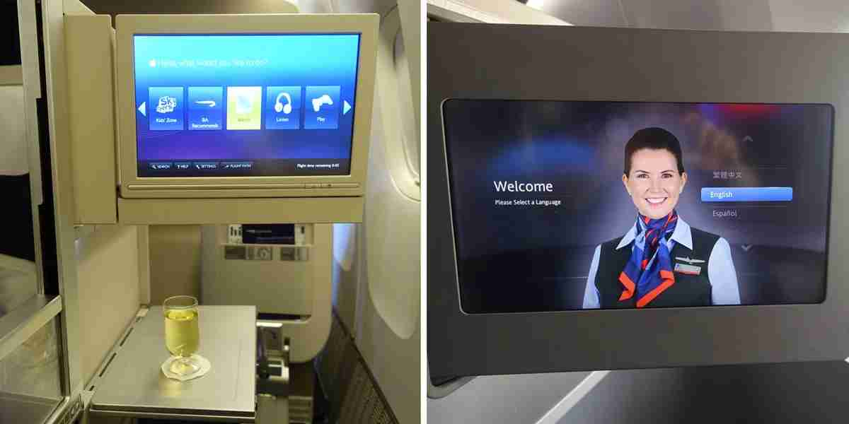 The British Airways IFE system (left) is slow and outdated compared to American