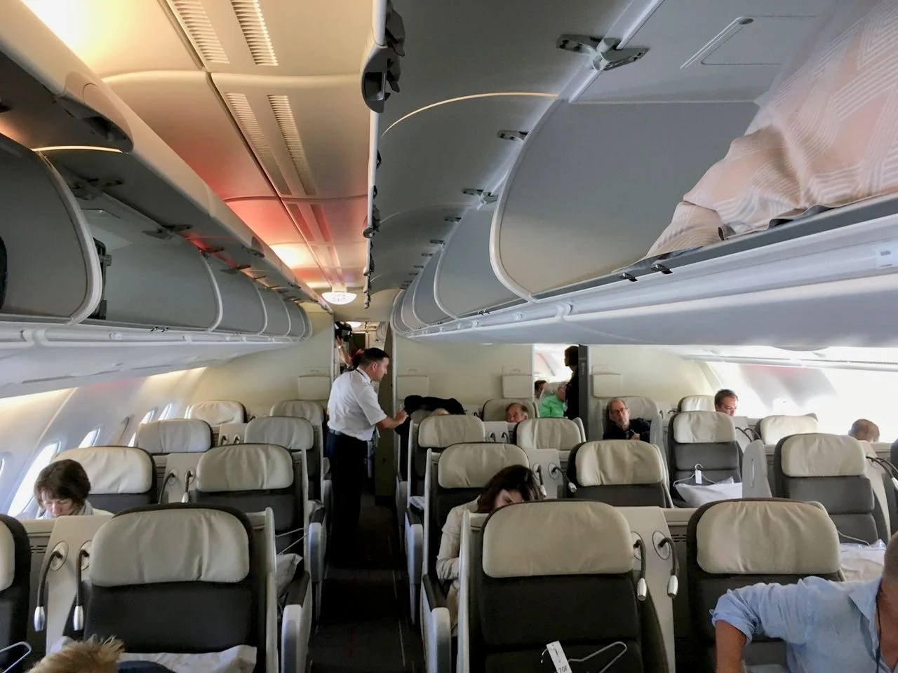 The business class cabin aboard Air France