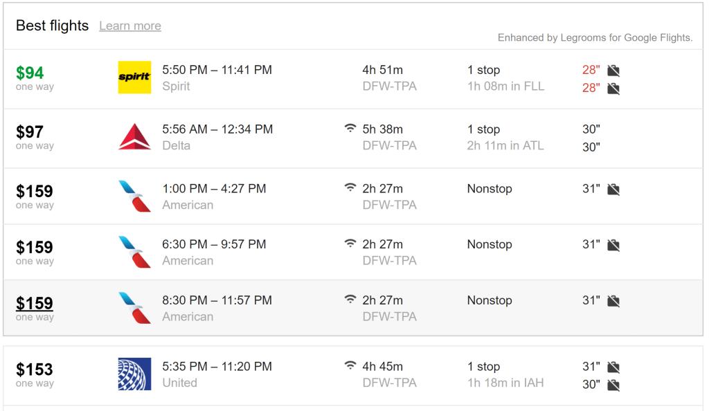 Legroom for Google Flights basic economy tag