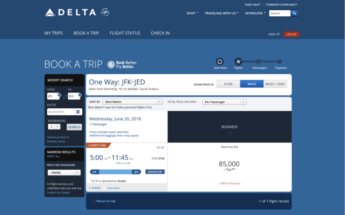 You can book partner awards in business class using Delta SkyMiles