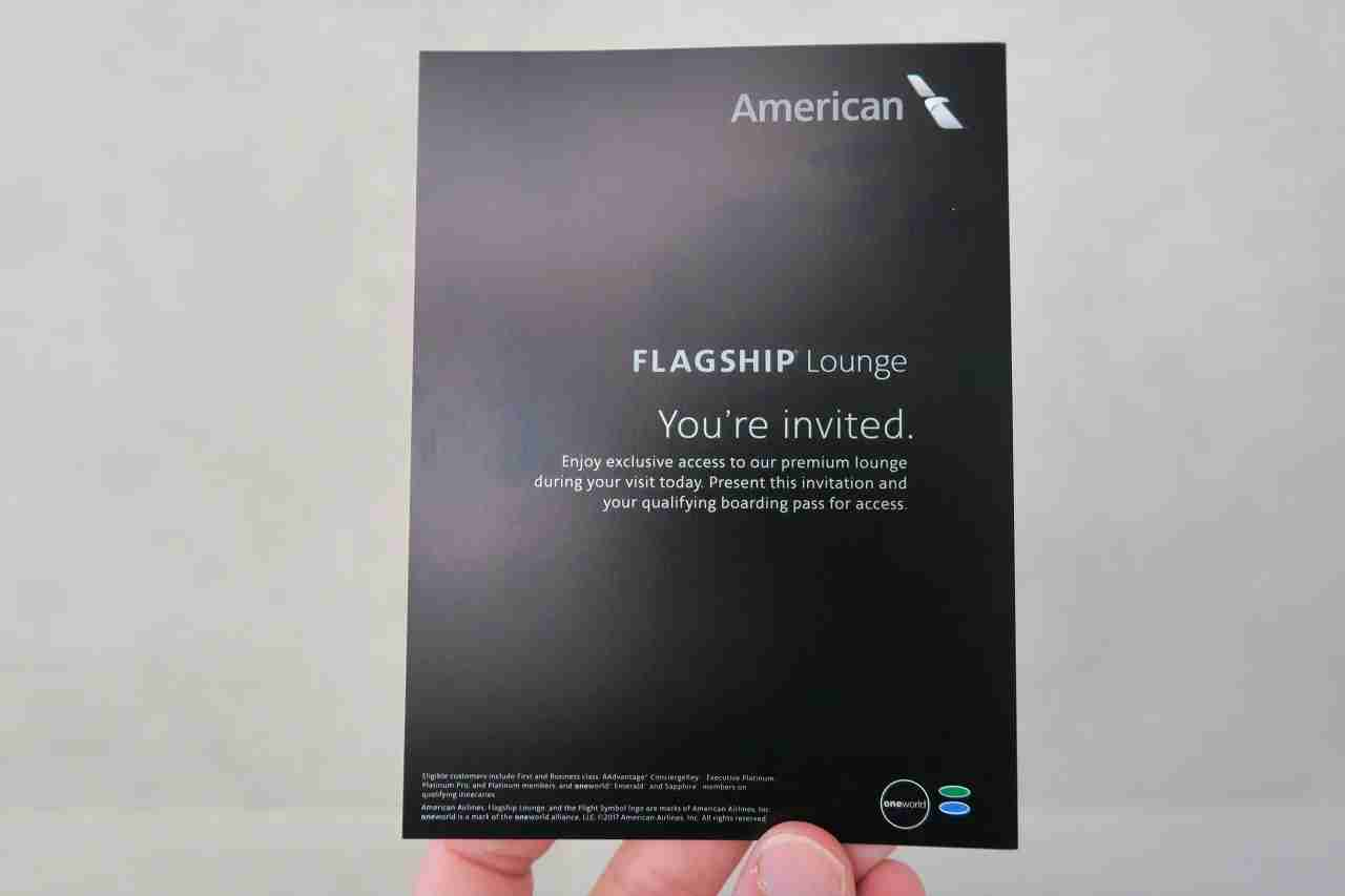 Invitation card provided to eligible passengers. (Photo by JT Genter / The Points Guy)