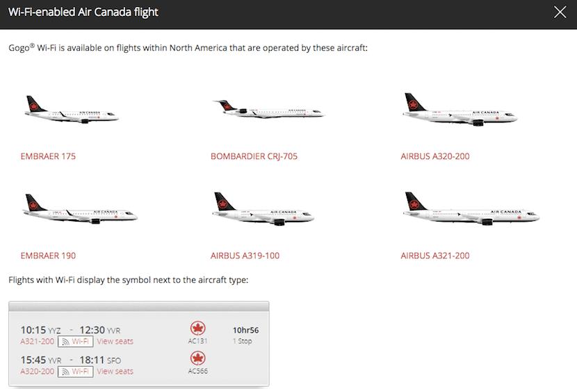 Air Canada wifi planes