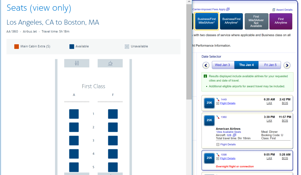 Award availability LAX-BOS in A321T