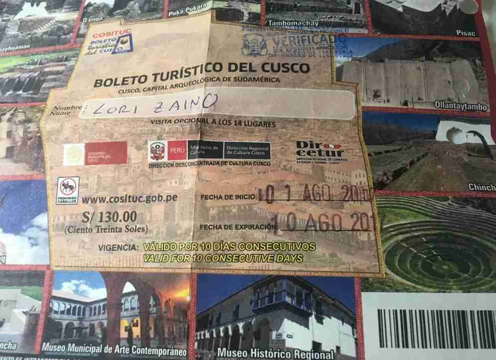 The tourist ticket to access the sites in Cusco and Sacred Valley. Image by Lori Zaino.