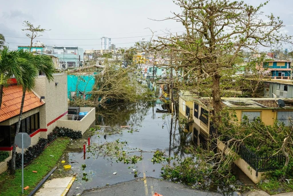 SAN JUAN, PUERTO RICO SEPTEMBER 22: Trees and flood water block a street after Hurricane Maria at Baldorioty Avenue in Carolina, Puerto Rico on September 22, 2017. (Photo by Pablo Pantoja/Anadolu Agency/Getty Images)
