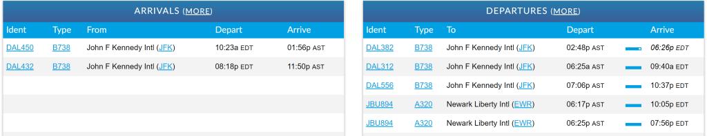 STI departures arrivals board