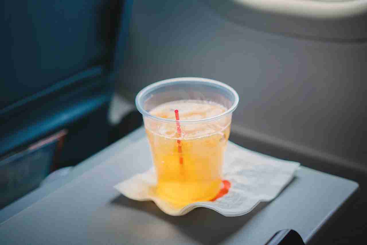 drinks on an airplane. (Photo by Getty Images)