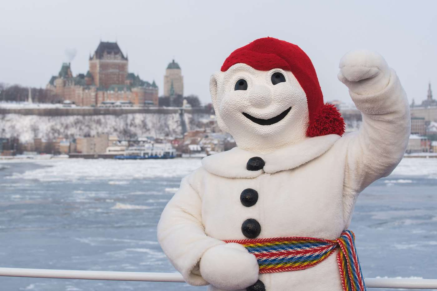 Say bonjour to Bonhomme, the jolly snowman mascot of Quebec City's legendary Carnaval, a citywide winter carnival that dates back to 1894. (Francis Gagnon)