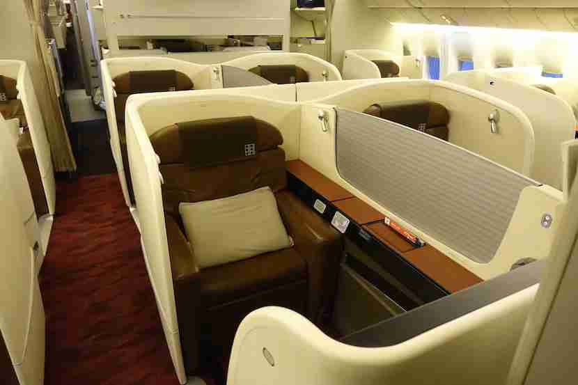 JAL first class seat left