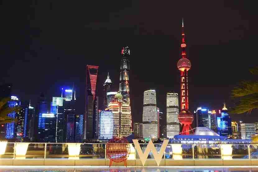 W Shanghai pool view night