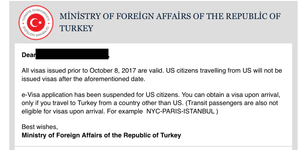 email from Turkey Ministry of Foreign Affairs