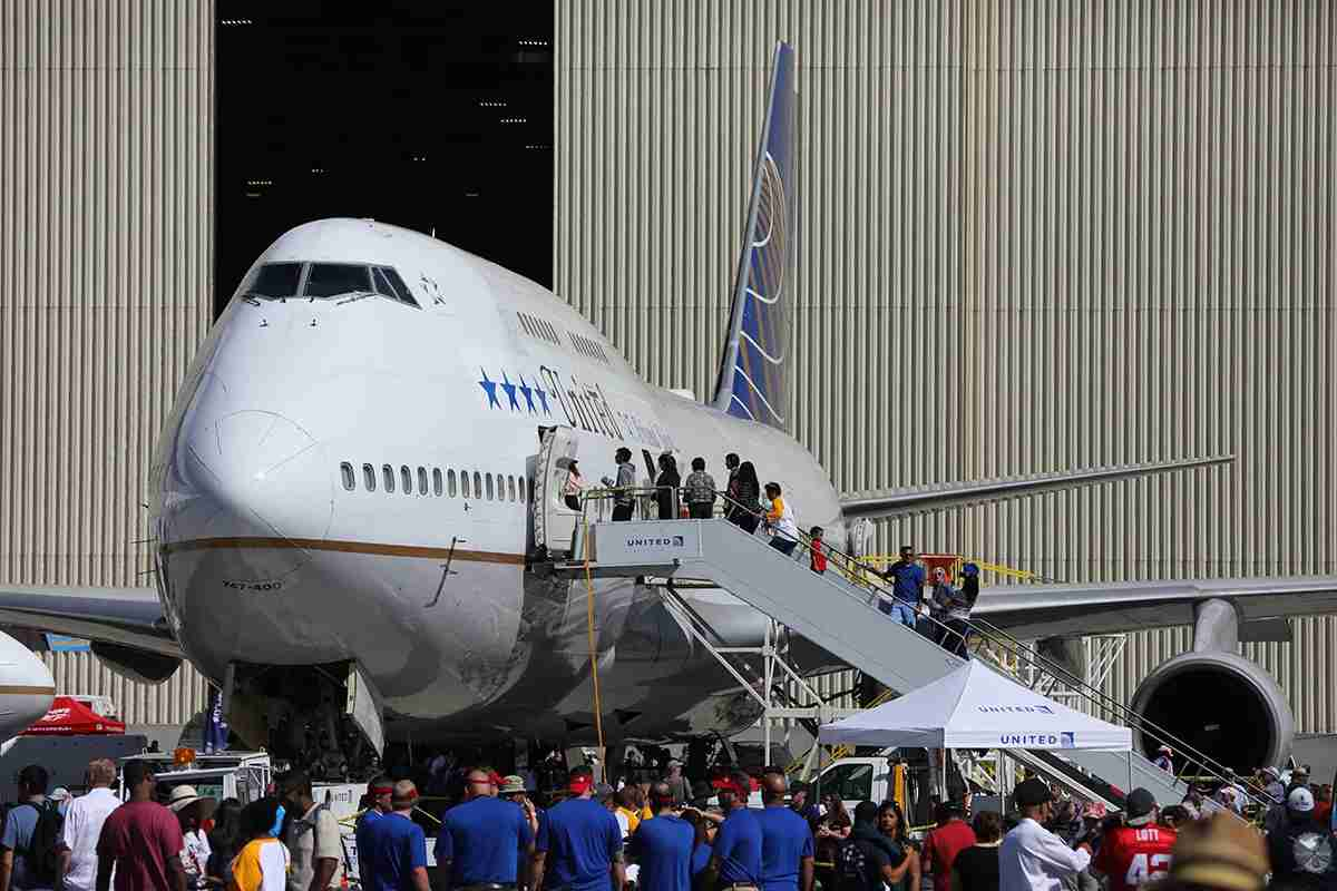 In line to get inside the 747. Photo by Patrick T. Fallon for The Points Guy