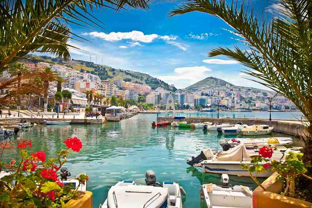 A view of the Saranda city port along the Albania Riviera. Image by master2 / Getty.