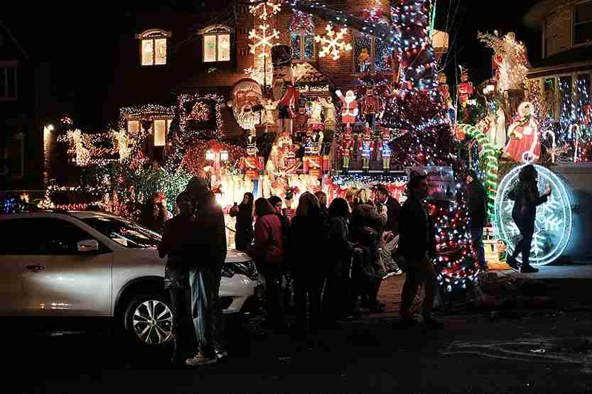 Christmas lights and other ornaments decorate a home in the Dyker Heights neighborhood of the Brooklyn