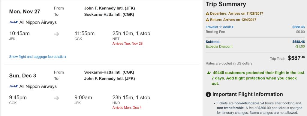 JFK-CGK $587 ANA