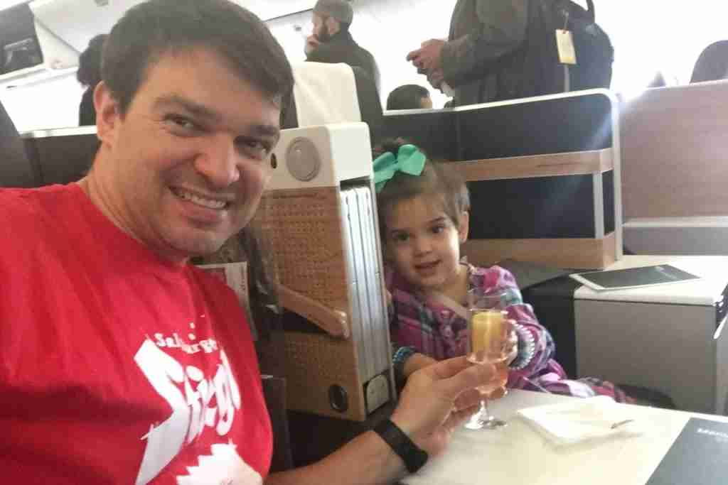 You can redeem Aeroplan miles for Swiss business class with no fuel surcharges, just like I did with my daughter (Evy) in November.