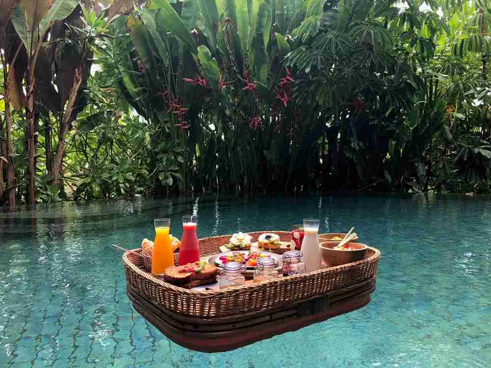 The floating breakfast was one of my favorite things at the Ritz-Carlton Bali.