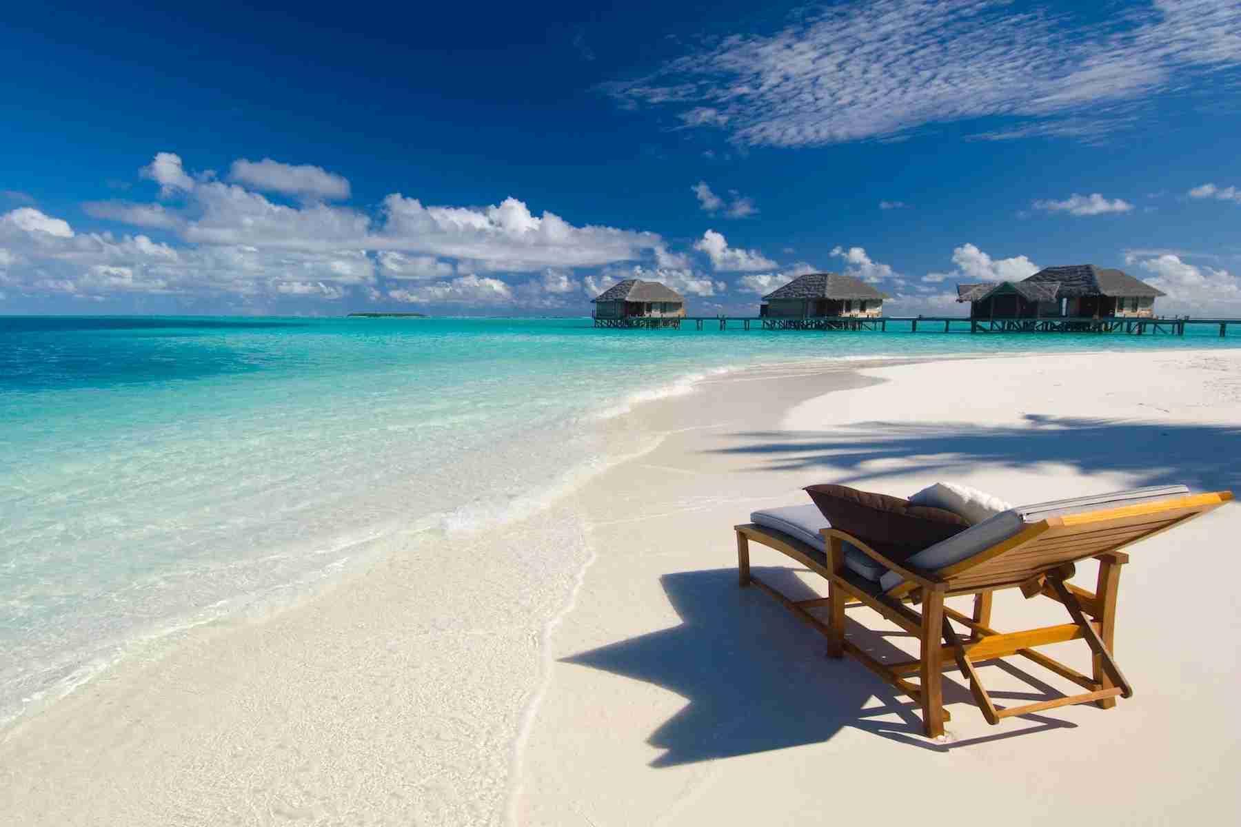 The beachfront of Conrad Maldives. Photo by Conrad.