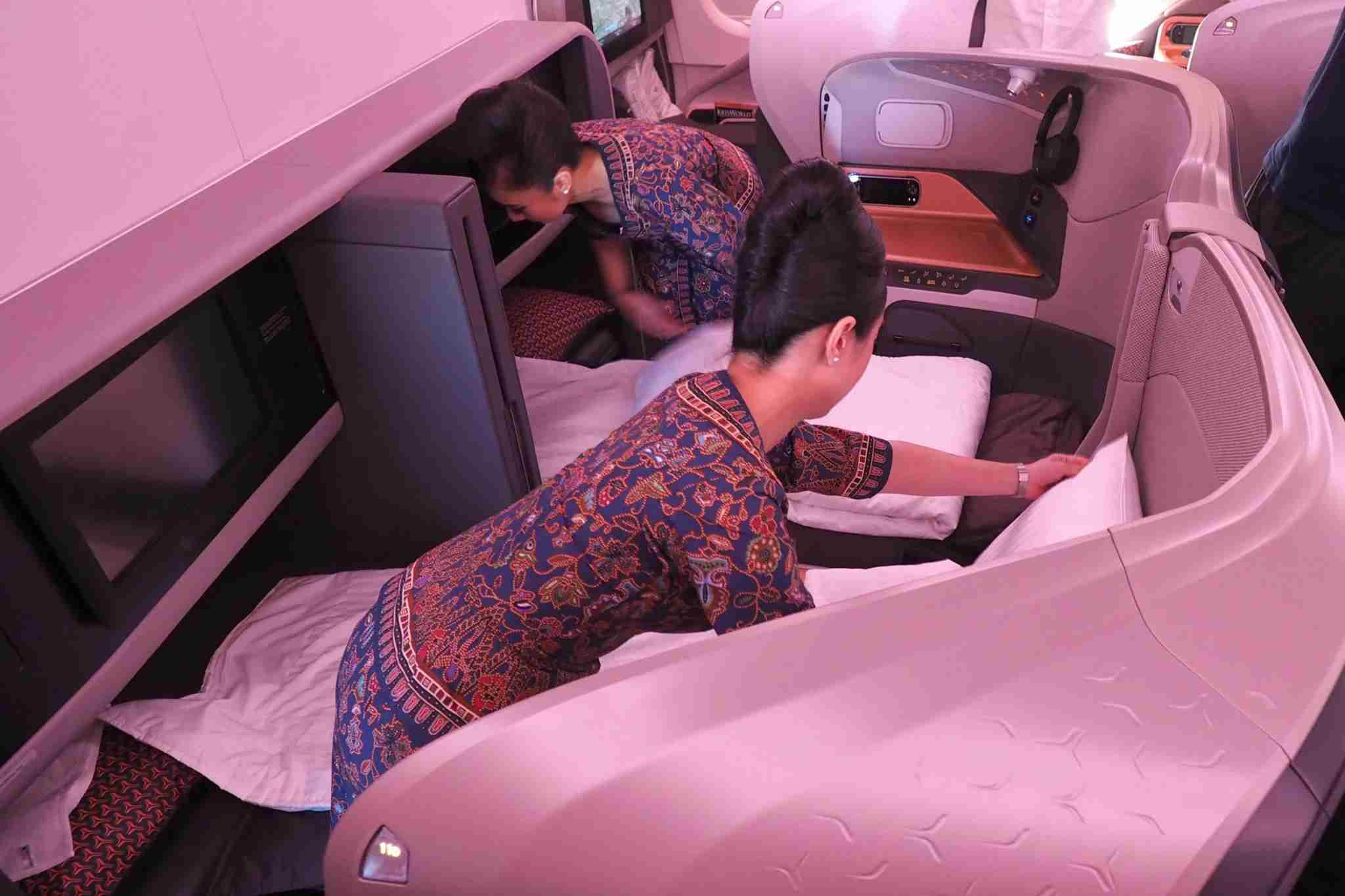 Singapore Airlines New Business Class Flight Attendant Bed