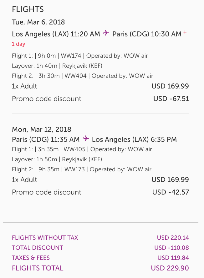 WOW Offering 50% Off Base Airfare