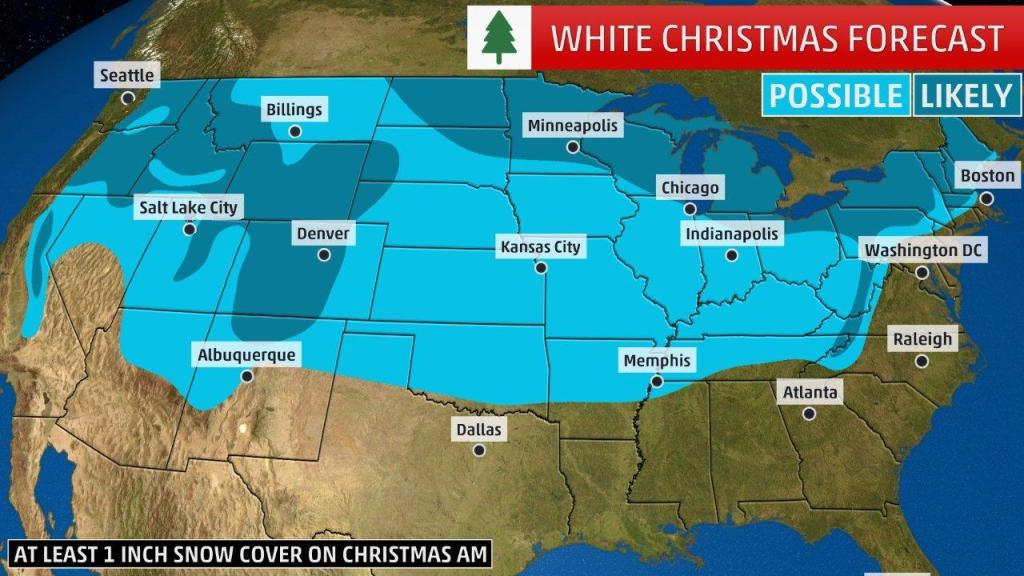 White Christmas Forecast.The Cities With The Best Chance For A White Christmas