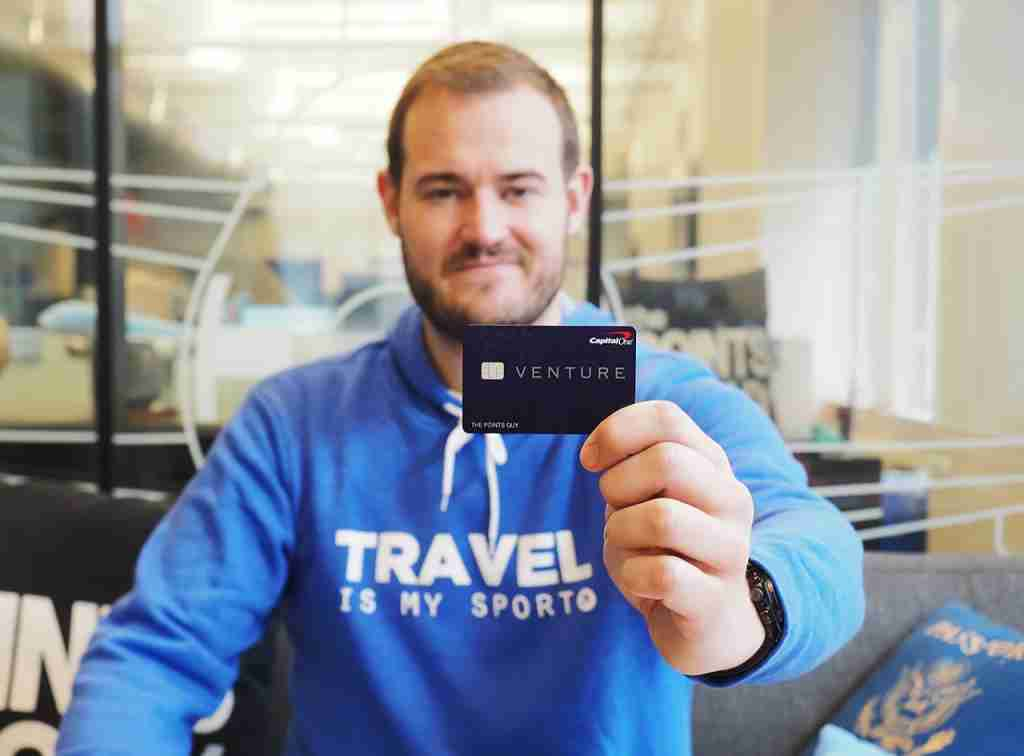 Brian Kelly with the Capital One Venture card