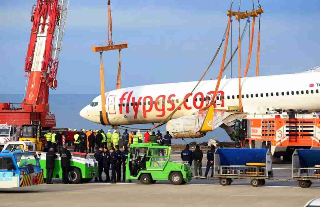 TRABZON, TURKEY - JANUARY 18: Engineers conduct a lifting operation with two cranes after a passenger plane skidded off a runway in northern Turkey