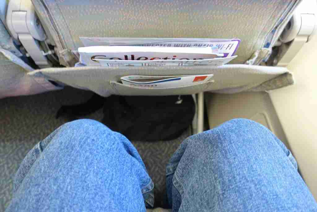 Legroom in economy class on the Emirates A380 between New York (JFK) and Milan, Italy (MXP).