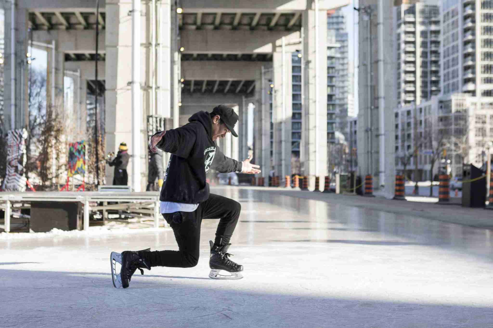The Bentway project in Toronto has transformed unused space beneath a highway into a skate trail and culture hub. (Denise Militzer)