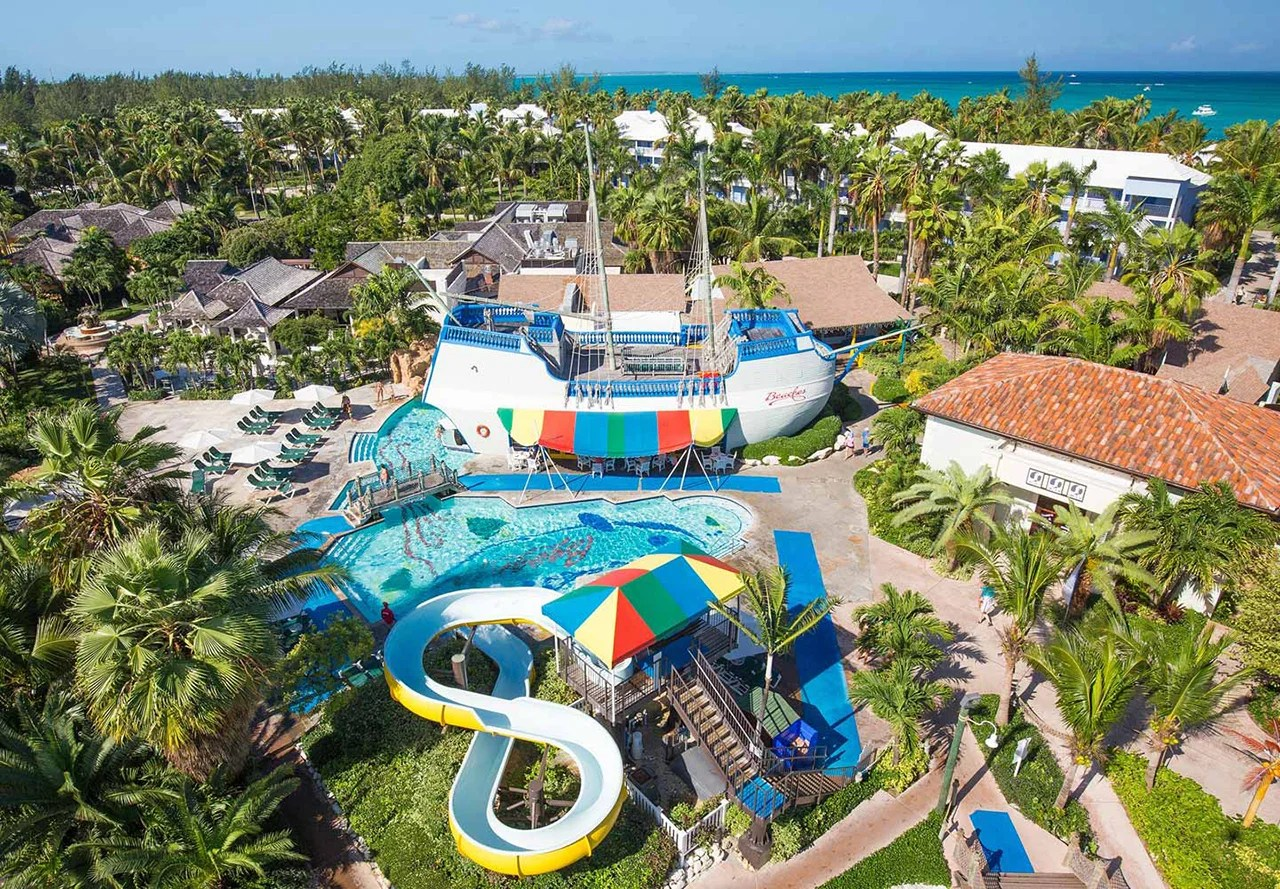 Pool and slides at Beaches in Turks and Caicos. Courtesy Beaches