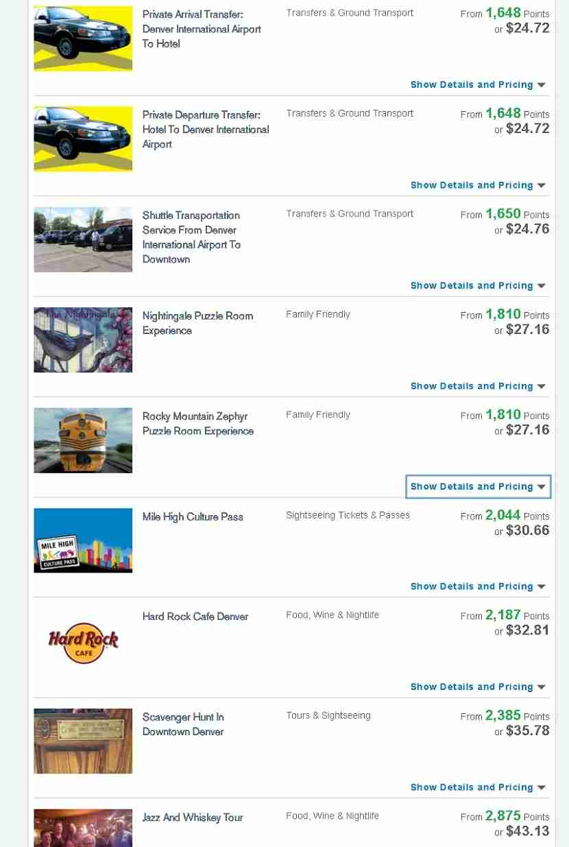"You can find some interesting ways to use your Ultimate Rewards points by searching ""activities."""