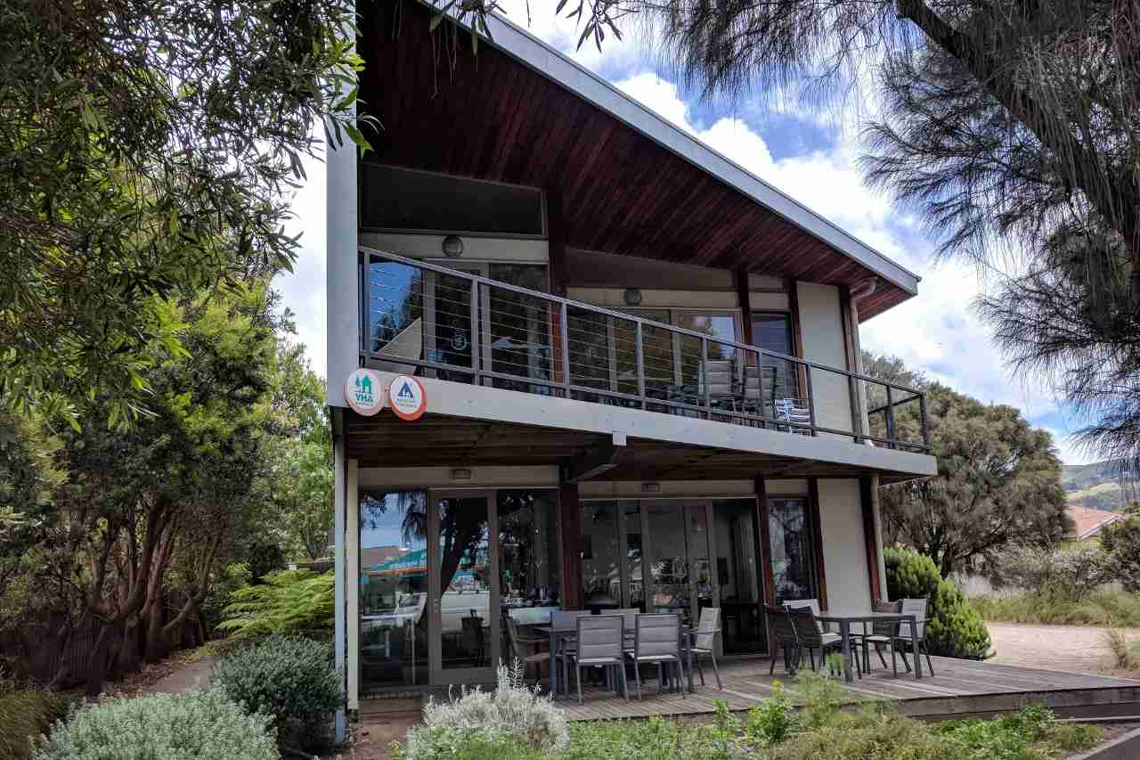 Apollo Bay Eco Hostel in Australia has many eco-friendly features including passive solar design, trombe walls to absorb winter sun and concrete floors and internal walls to maintain temperature.