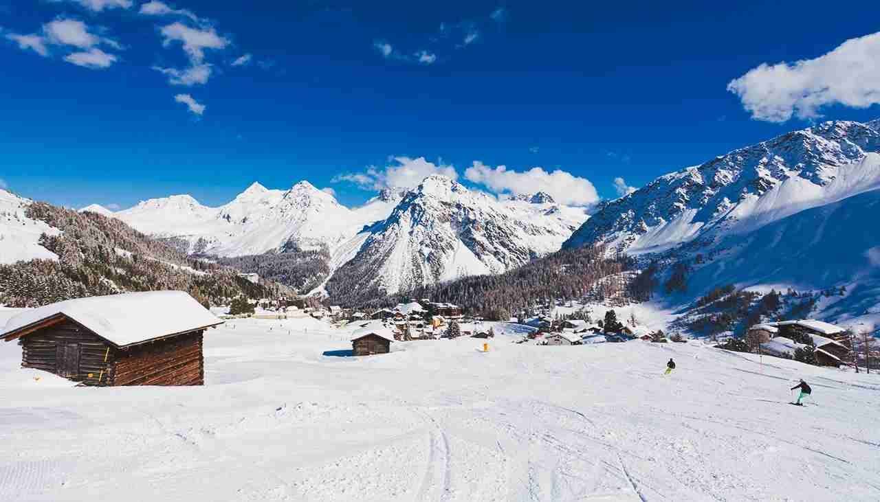 Switzerland, View of mountains covered with snow at Arosa. (Photo by Westend61/Getty Images)