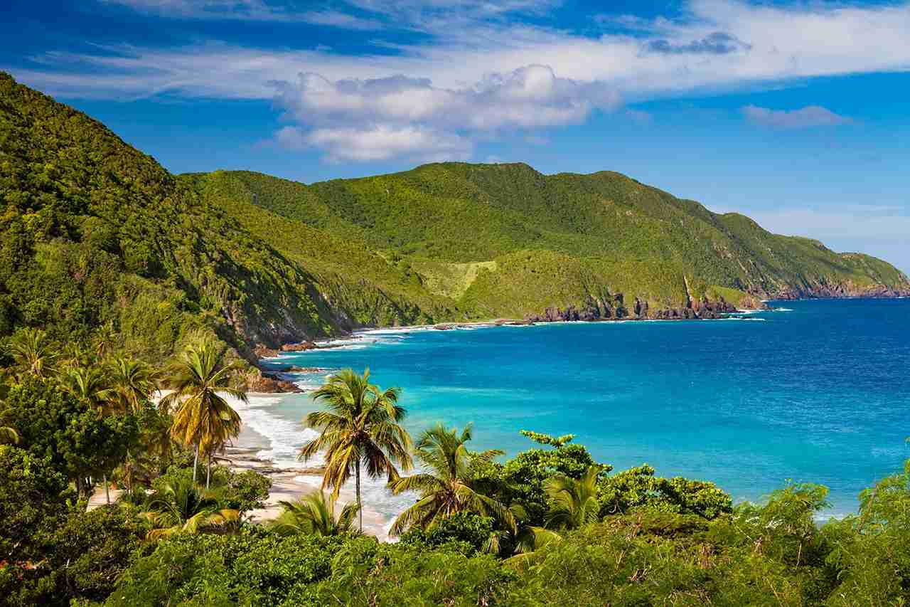 panoramic view of Carambola Beach, St.Croix, US Virgin Islands. (Photo by cdwheatley/Getty Images)