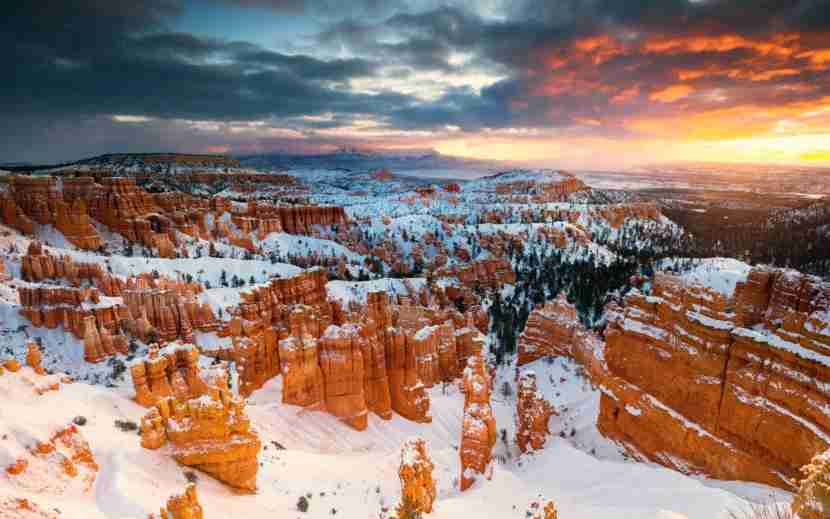 A sunrise shot of rock hoodoos at Sunset point of Bryce Canyon National Park, Utah. Photo by Noppawat Tom Charoensinphon// Gettyimages