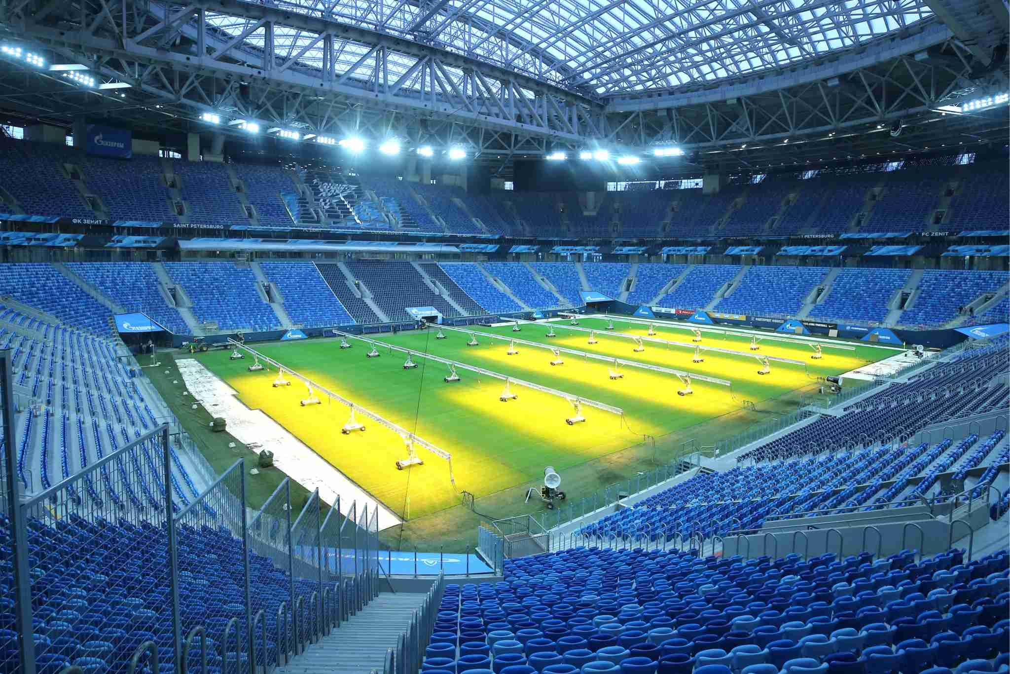 ST PETERSBURG, RUSSIA JANUARY 30, 2018: Lamps enhancing grass growth on the pitch of Saint Petersburg Stadium, a venue for 2018 FIFA World Cup matches. Peter Kovalev/TASS (Photo by Peter KovalevTASS via Getty Images)