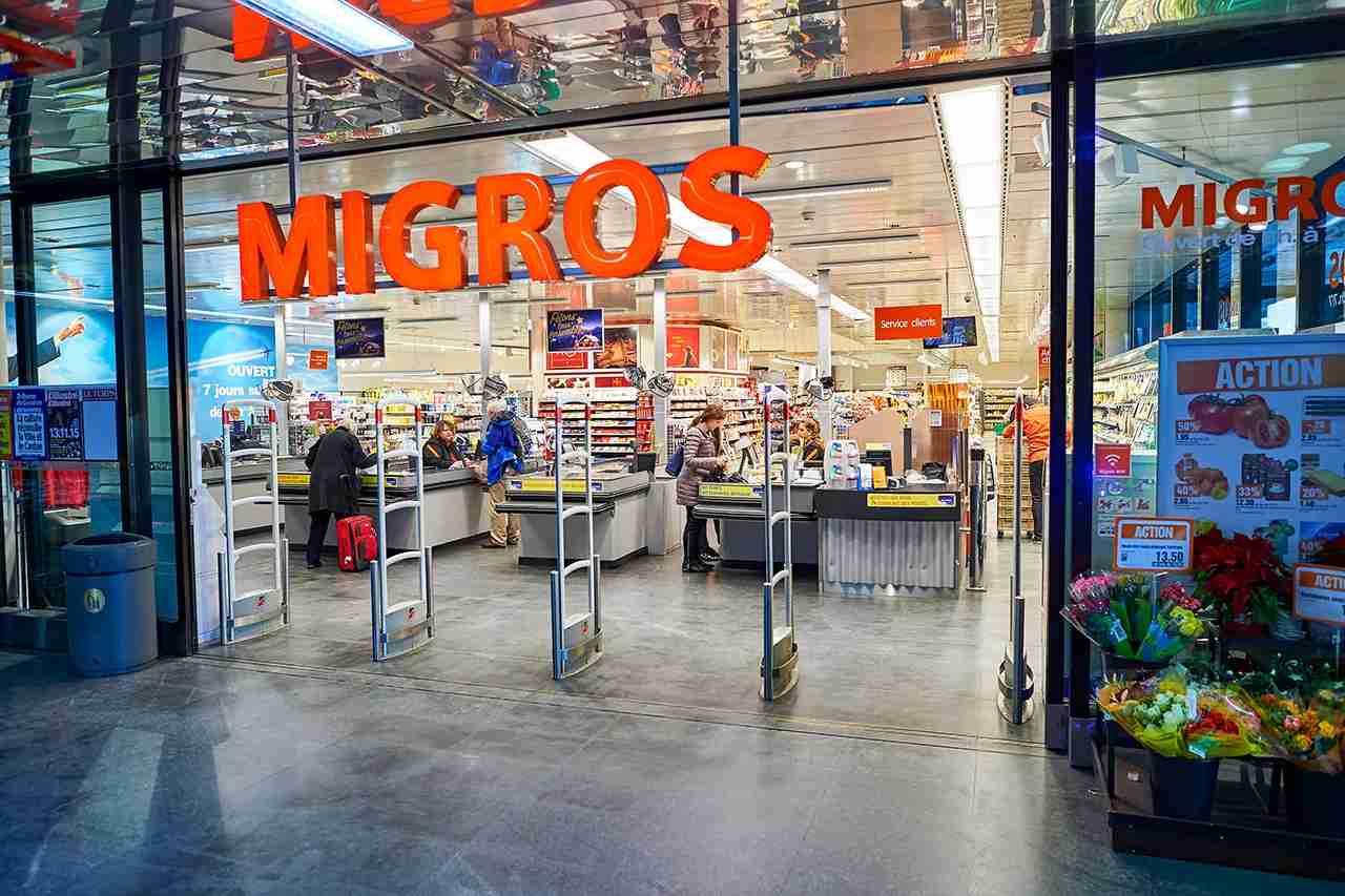 Entrance to Migros supermarket in Geneva. Migros is Switzerland