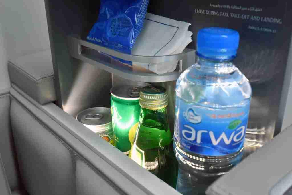 Kuwait Airways first-class mini-bar. Photo by Alberto Riva.