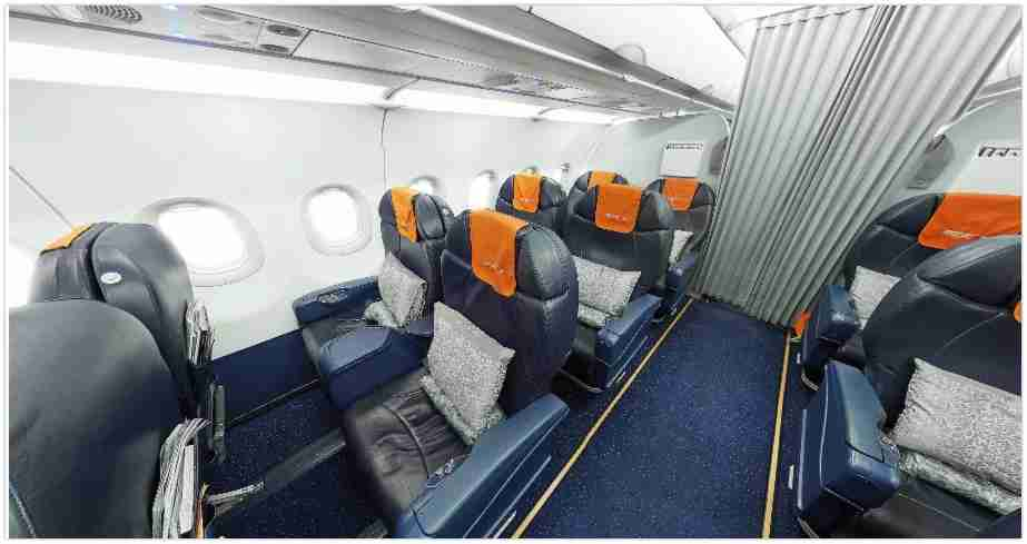 Aeroflot has a business class cabin on narrow body aircraft. Turkish Airlines is the only other carrier that does on intra-Europe flights.